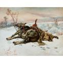 Huzar francuski z koniem na śniegu