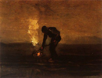 Vincent van Gogh - A Peasant Burns Weeds, Drente