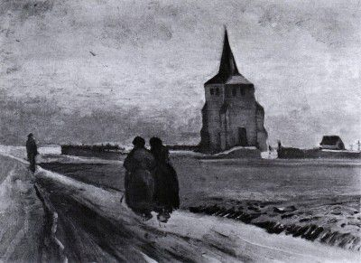 Vincent van Gogh - The Old Nueten's Tower with People Walking, Nuenen