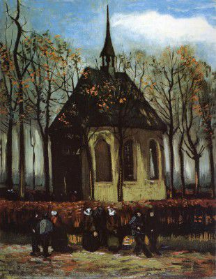 Vincent van Gogh - Nuenen's Chapel with Devotees Walking to the Church, Nuenen