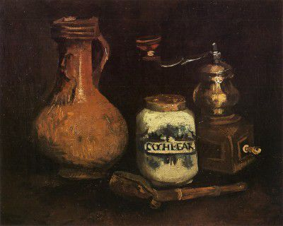 Vincent van Gogh - Still Life with Coffee Mill, Pipe Kit and Cantharis, Nuenen