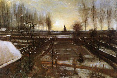 Vincent van Gogh - The Garden of Nuenen's Presbytery with Snow