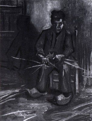 Vincent van Gogh - Male Peasant Making a Basket, Nuenen