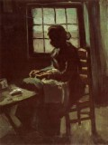 Vincent van Gogh - Female Peasant Sewing in front of a Window, Nuenen