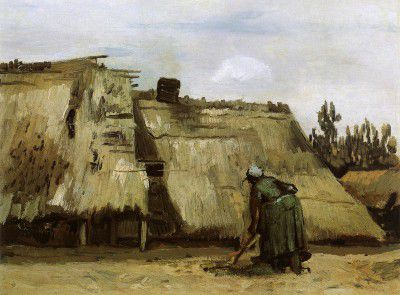Vincent van Gogh - Cottage with a Woman Digging, Nuenen