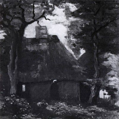 Vincent van Gogh - Cottage with Trees and a Female Peasant, Nuenen