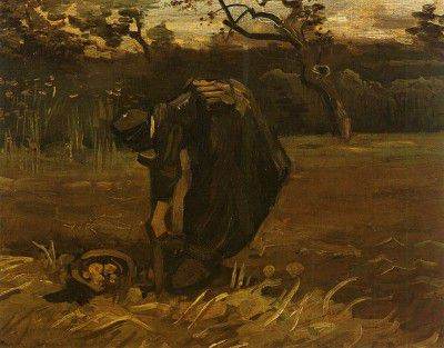 Vincent van Gogh - Female Peasant Digging up Potatoes, Nuenen