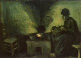 Vincent van Gogh - Female Peasant Next to the Fireplace, Nuenen